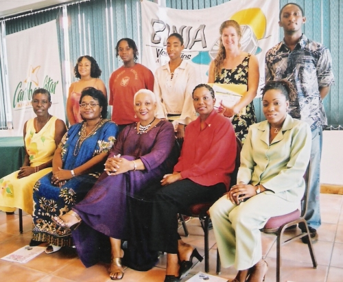 Image from our first Wadadli Pen awards ceremony in 2004 with Education Chief Jacintha Pringle and then Culture Director Heather Doram seated in the front row, alongside some of our sponsors, with the first year's winners standing.  From the get-go Wadadli Pen has been about nurturing and promoting literary expression with a decidedly Caribbean aesthetic. (Photo by Colin James)