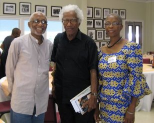 John Robert Lee, creator of the Caribbean lit bibliography featured on this site, with Caribbean writers George Lamming and Esther Phillips at a BIM literary event in 2008.