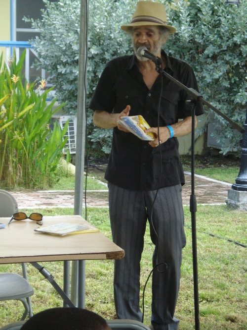 John Agard at the literary festival in Antigua and Barbuda.