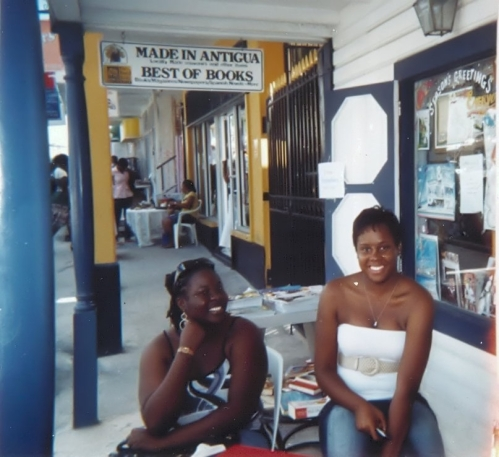 Floree, right, at her first book signing outside the Best of Books.