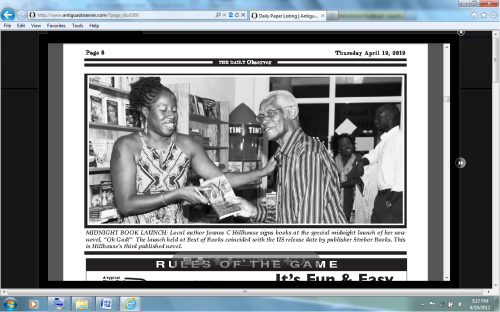 Here I am at the 2012 launch of my book Oh Gad! with veteran calypso writer Marcus Christopher.