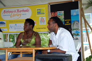 Me (JCH) and Eric Jerome Dickey on a panel at The Antigua and Barbuda International Literary Festival.