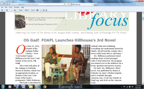 Me in NY for the 2012 launch of my book Oh Gad! at the invitation of the Friends of Antigua Public Library.