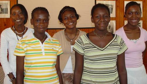 Angelica is pictured here, far left, in white, with the other 2006 finalists.