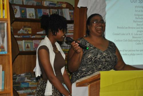 Barbara is pictured here (right) at the 2013 Wadadli Pen awards ceremony with winner Asha Challenger (left). (Photo courtesy antiguachronicle.net)