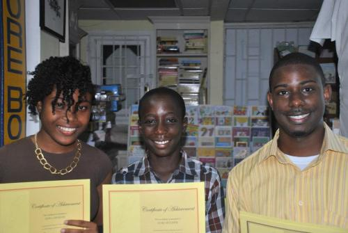 Left to right, overall winner Asha Challenger, third placed Zuri Holder, and second placed Daryl George.