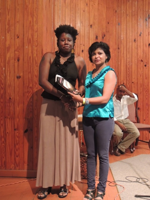 Here i am with Rampersad during a presentation she made to Wadadli Pen 2013.