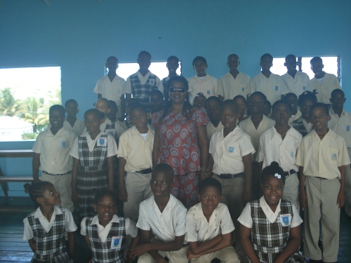 Joy with students at St. Michael's Primary.