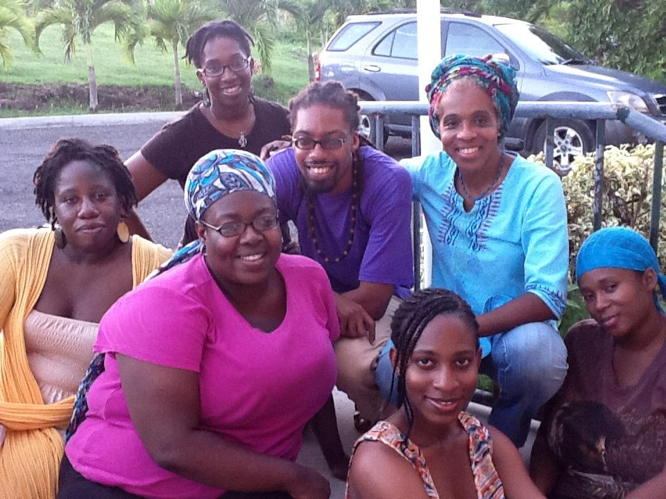 The colourful group from Brenda's first Just Write Writers Retreat. That's her in the blue top on the right; that's Glen who hosts the Wadadli Pen Open Mic next to her and in front of her, that's Tiffany Smith, a finalist in 2012 - the weekend retreat was part of her prize package, contributed by one Ms. Brenda Lee Browne.