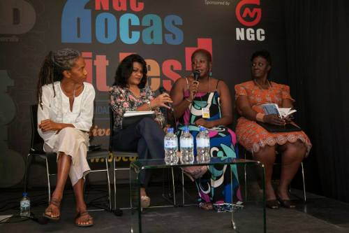 Bocas Photo of finalists at Burt award panel by Marlon James.