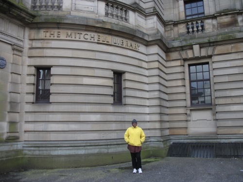 In Scotland for the Aye Write! festival - outside the Mitchell Library.