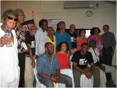 Here's Unburnable author Marie Elena John (seated, centre) at a literary gathering with other Caribbean writers.  Antigua and Barbuda needs to continue to have a presence at these types of gatherings.