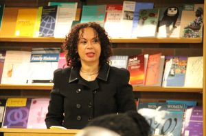 Gayle reading at the launch of So the Nailhead Bend, So the Story End in Canada.