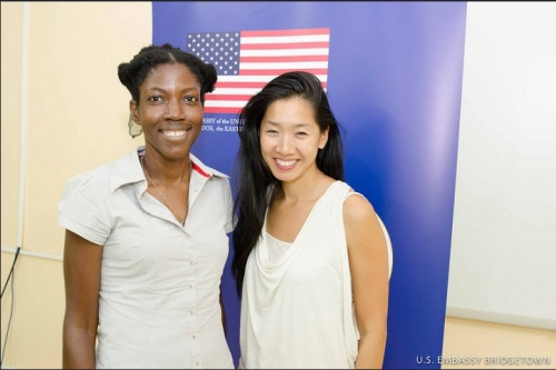 Chang with local poet Kimolisa Mings whose first collection She Wanted a Love Poem recently debuted.