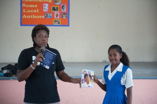 The prizes were copies of books by the Burt Award winning authors - Inner City Girl and All Over Again - consistent with CODE's mission to get copies into the hands of Caribbean teens.