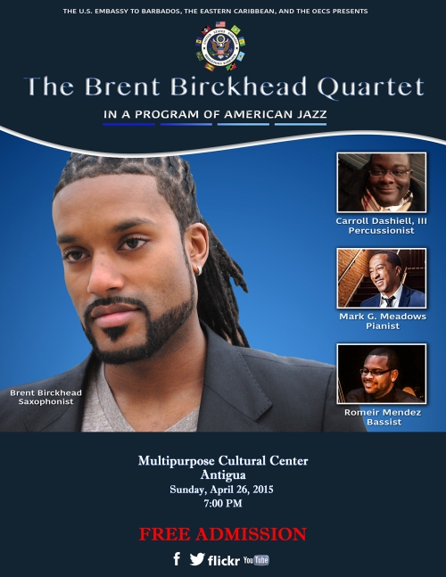 Flyer for the Brent Birckhead Quartet Public Concert in Antigua 4-26-15