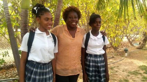 with students at the Anguilla Lit Fest (photo by Barbara Arrindell)