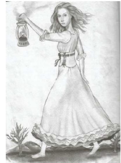 This is an artist's rendering of the ghost of Parham reprinted in the newsletter from Joy Lawrence's book The Footprints of Parham. Original drawing by Patrick Simpson, 2011. Is there an actual ghost of Parham...who can say for sure?