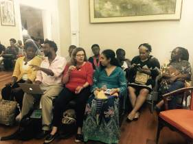 Reading at Moray House with other Caribbean writers-editors.
