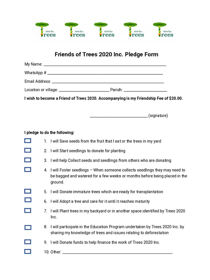 Trees 2020 Pledge form